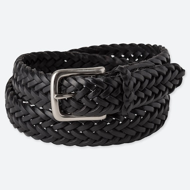MEN LEATHER MESH BELT, BLACK, medium