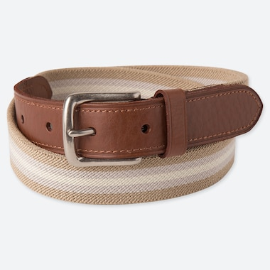 MEN STRETCH TAPE BELT, BEIGE, medium