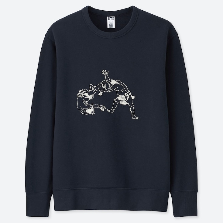 HOKUSAI BLUE GRAPHIC SWEATSHIRT, NAVY, large