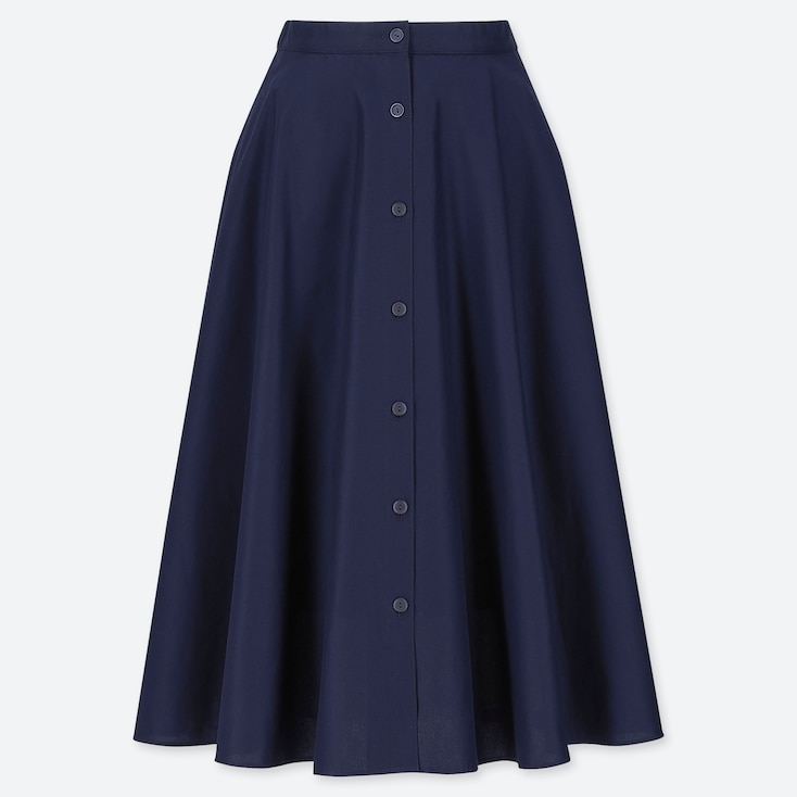 WOMEN FRONT BUTTON CIRCULAR SKIRT, NAVY, large