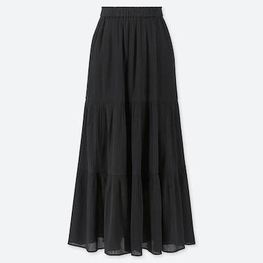WOMEN TIERED LONG SKIRT, BLACK, medium