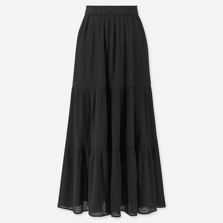 WOMEN TIERED LONG SKIRT, BLACK, large