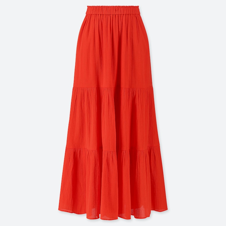 WOMEN TIERED LONG SKIRT, DARK ORANGE, large