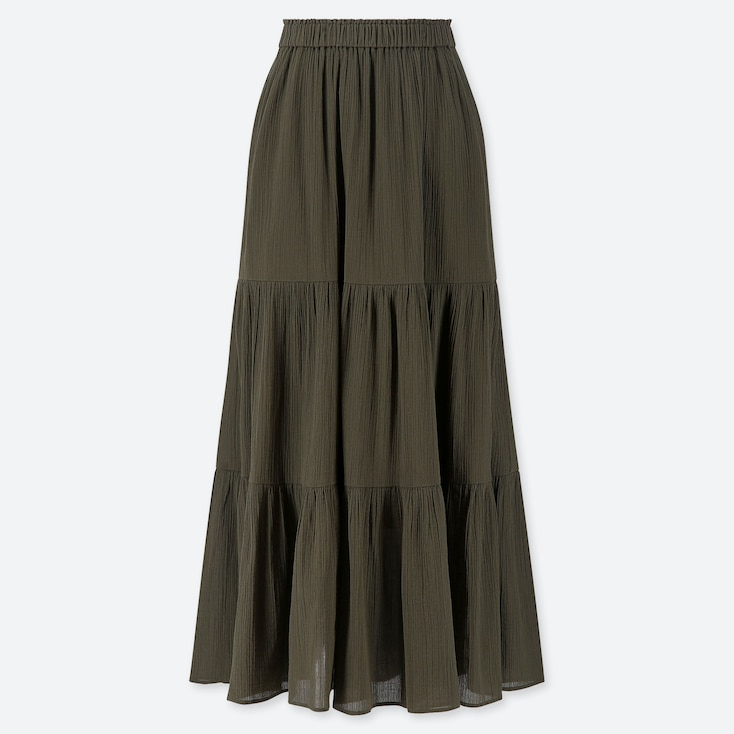 WOMEN TIERED LONG SKIRT, OLIVE, large