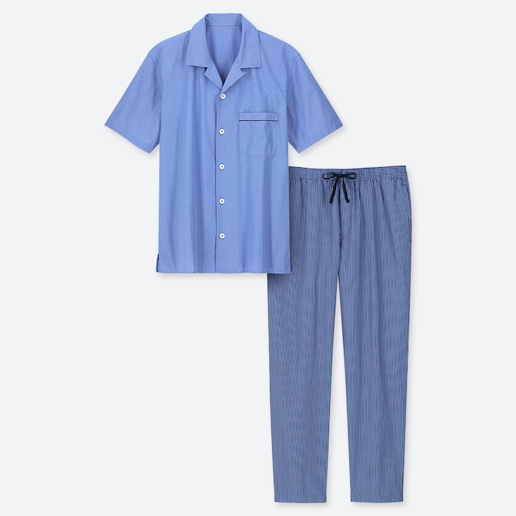 MEN SHORT-SLEEVE PAJAMAS (ONLINE EXCLUSIVE), BLUE, large