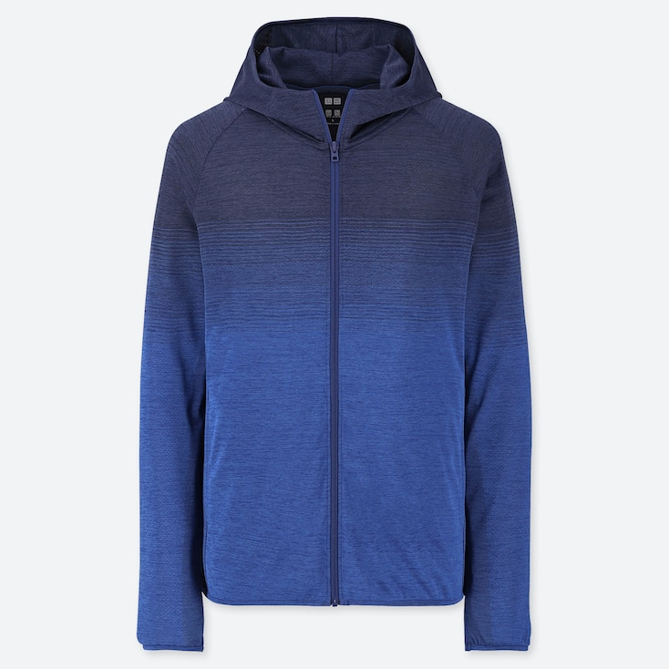 MEN DRY-EX LONG-SLEEVE FULL-ZIP HOODIE, BLUE, large