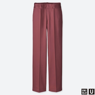 WOMEN UNIQLO U COTTON STRAIGHT LEG TROUSERS