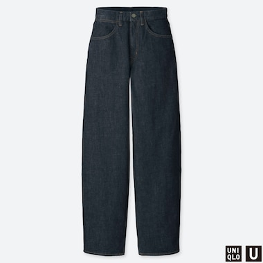 WOMEN UNIQLO U HIGH WAISTED WIDE LEG STRAIGHT JEANS