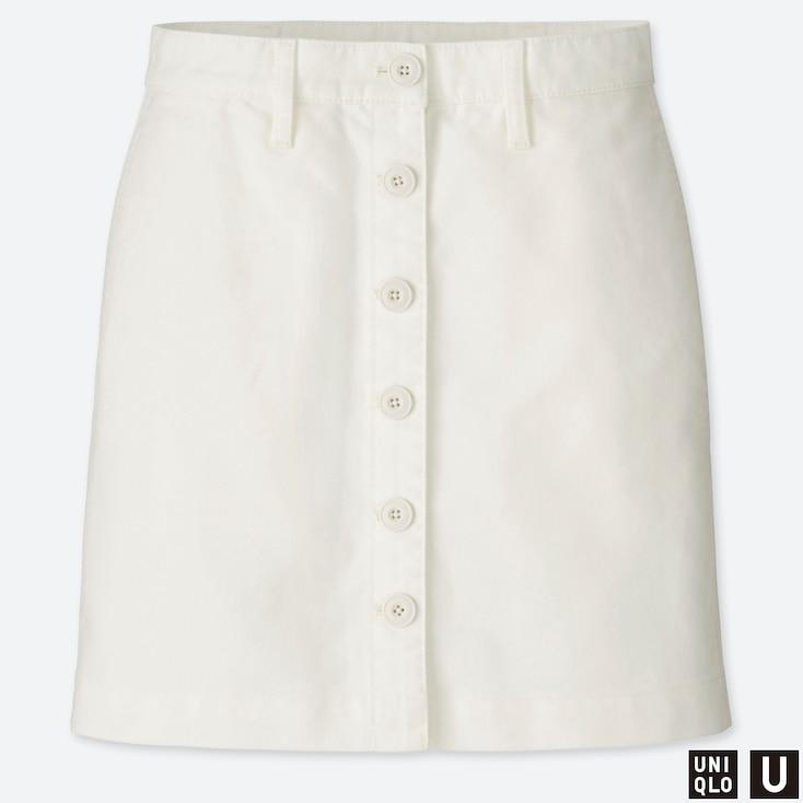 WOMEN U COTTON MINI SKIRT, OFF WHITE, large