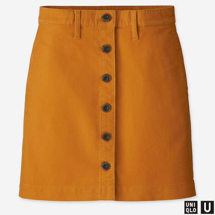 WOMEN U COTTON MINI SKIRT, YELLOW, large