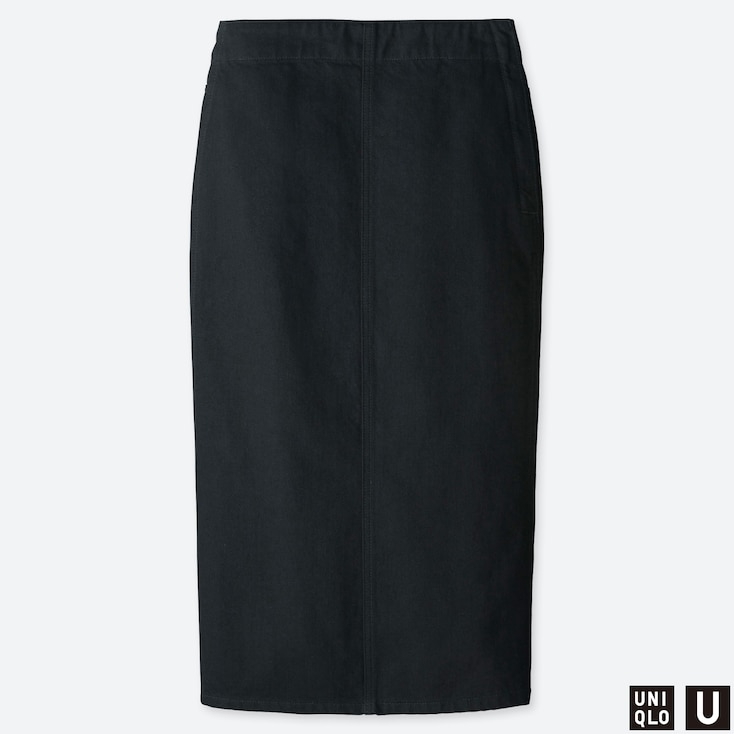 WOMEN U DENIM NARROW SKIRT, BLACK, large