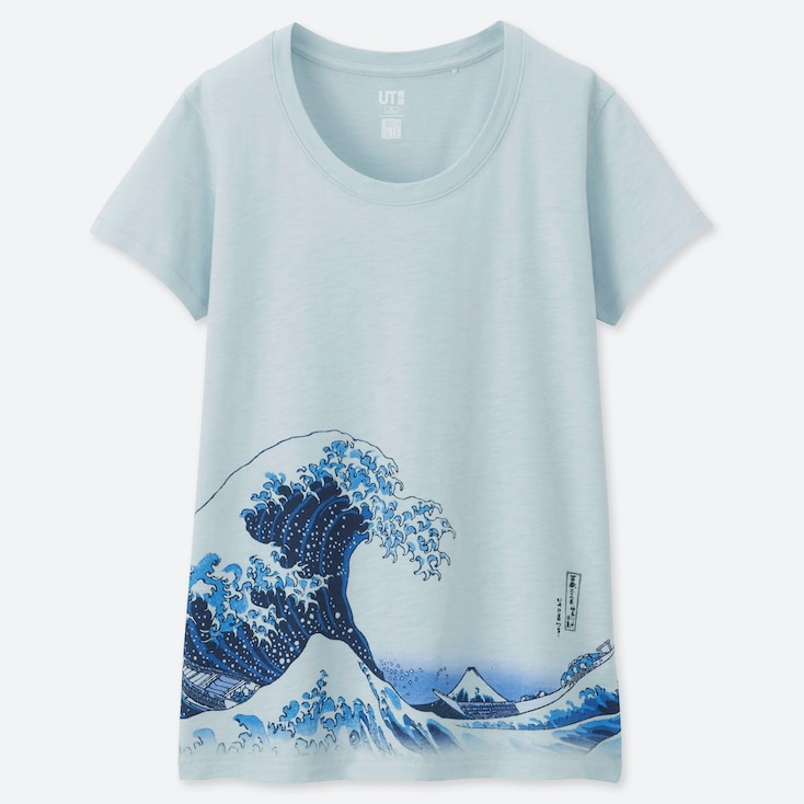 WOMEN HOKUSAI BLUE UT (SHORT-SLEEVE GRAPHIC T-SHIRT), LIGHT BLUE, large
