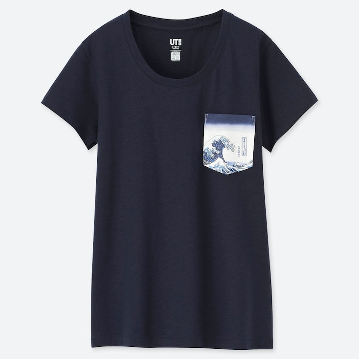 WOMEN HOKUSAI BLUE UT (SHORT-SLEEVE GRAPHIC T-SHIRT), NAVY, large