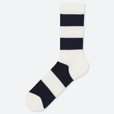 MEN PILE STRIPED SOCKS, WHITE, medium