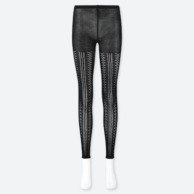 WOMEN LACE LEGGINGS, BLACK, medium