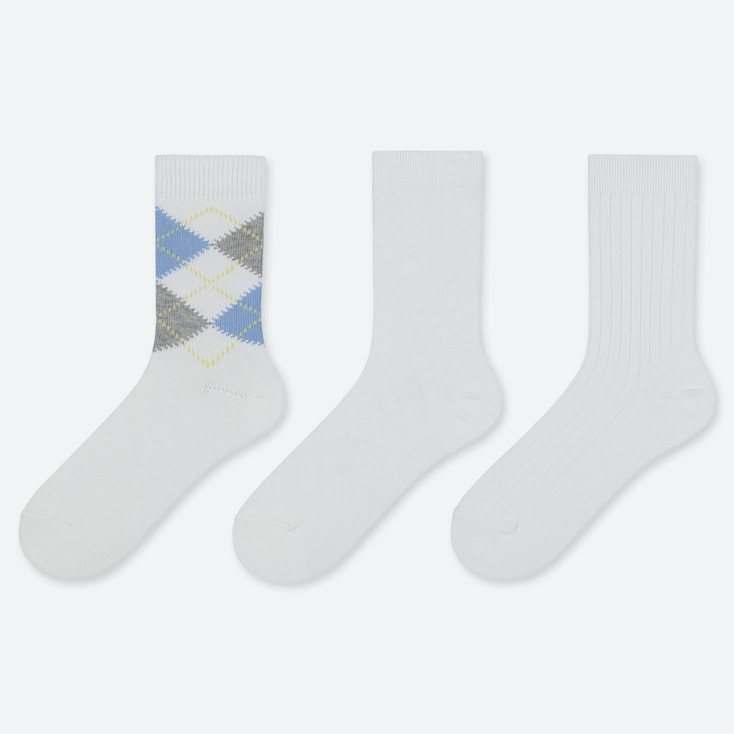 WOMEN ARGYLE CALF SOCKS (3 PAIRS), WHITE, large