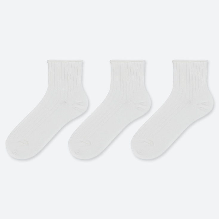 WOMEN TOPROLL CREW SOCKS (3 PAIRS), WHITE, large