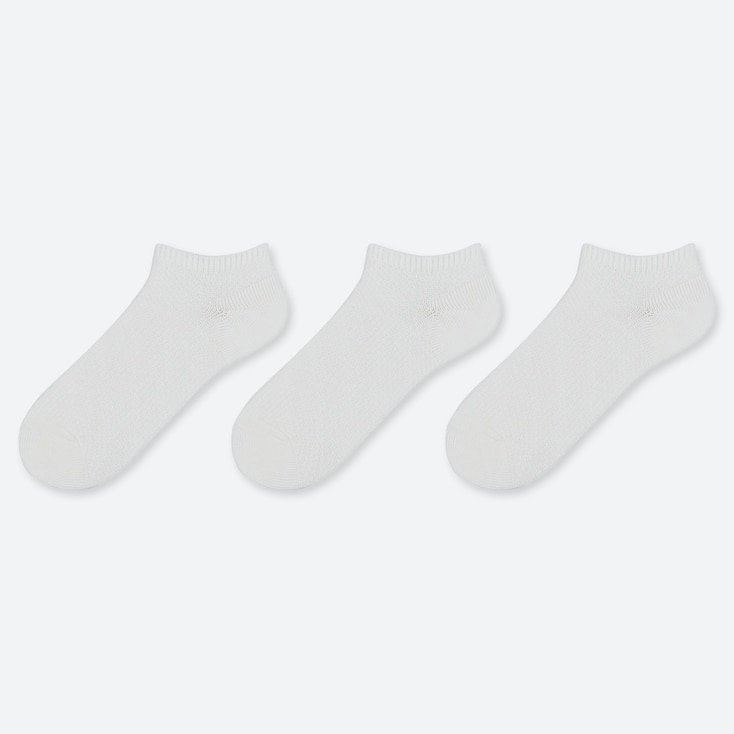 WOMEN SLUB PIQUE SHORT SOCKS (3 PAIRS), WHITE, large