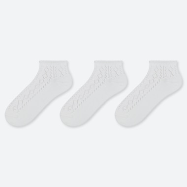 WOMEN MESH SHORT SOCKS (3 PAIRS), WHITE, medium