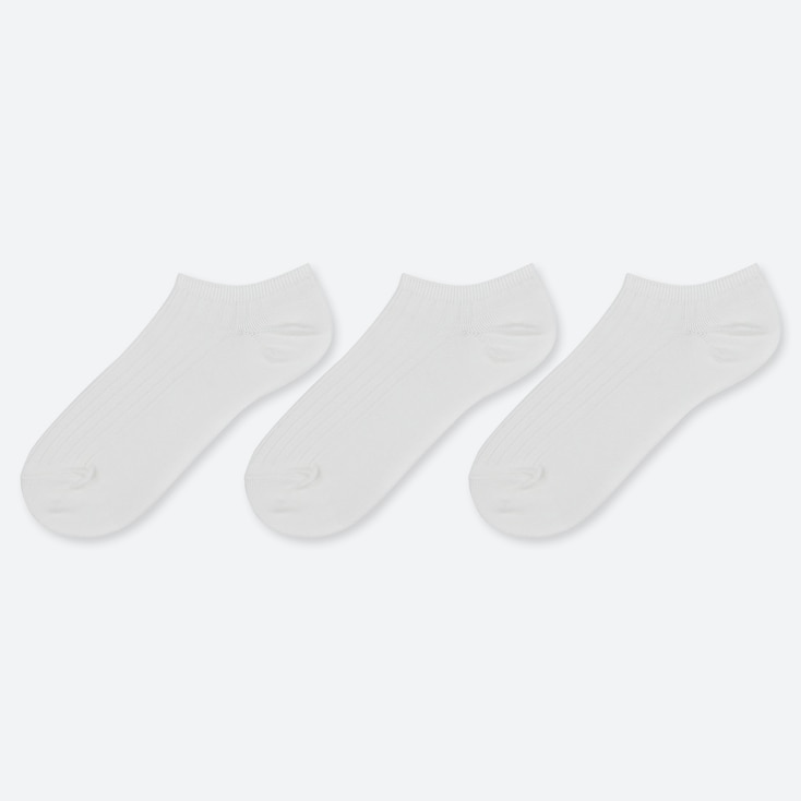 WOMEN RIBBED SHORT SOCKS (3 PAIRS), OFF WHITE, large
