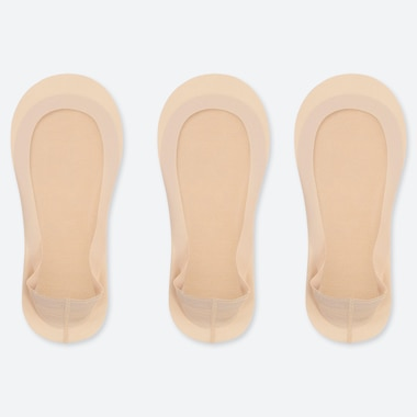 WOMEN SHEER FOOTSIES (3 PAIRS), BEIGE, medium
