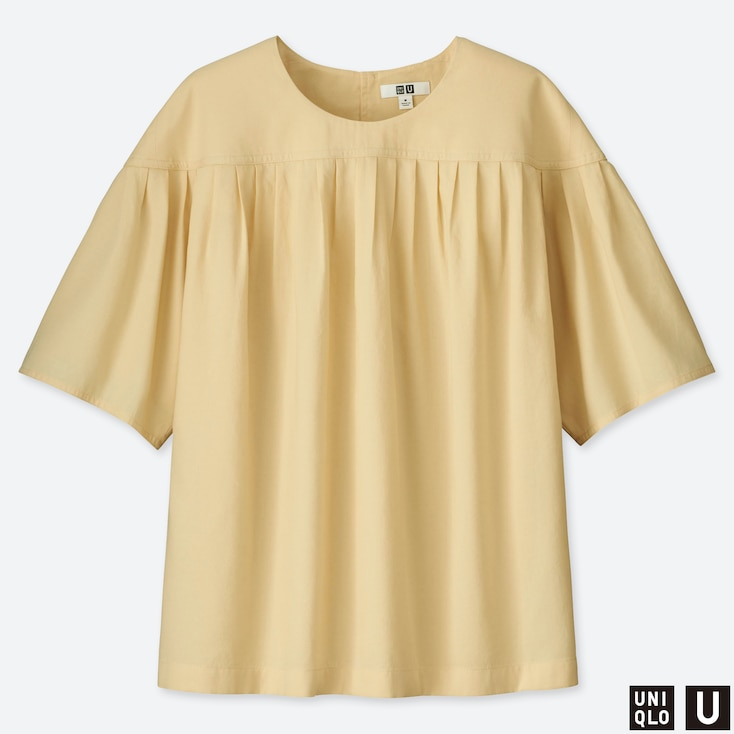 WOMEN U PLEATED SHORT-SLEEVE BLOUSE, CREAM, large