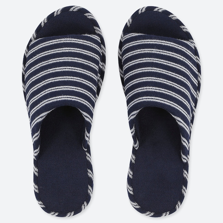 PILE-LINED SLIPPERS, NAVY, large