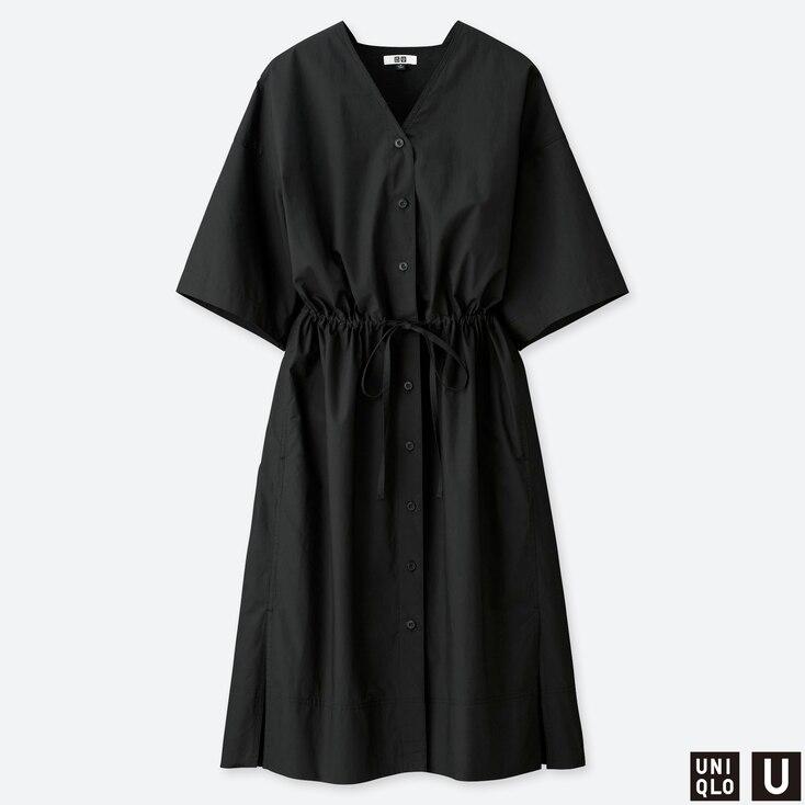 WOMEN U SHIRT SHORT-SLEEVE DRESS, BLACK, large