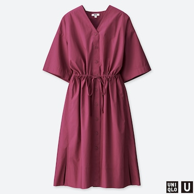 WOMEN UNIQLO U HALF SLEEVED BELTED DRESS