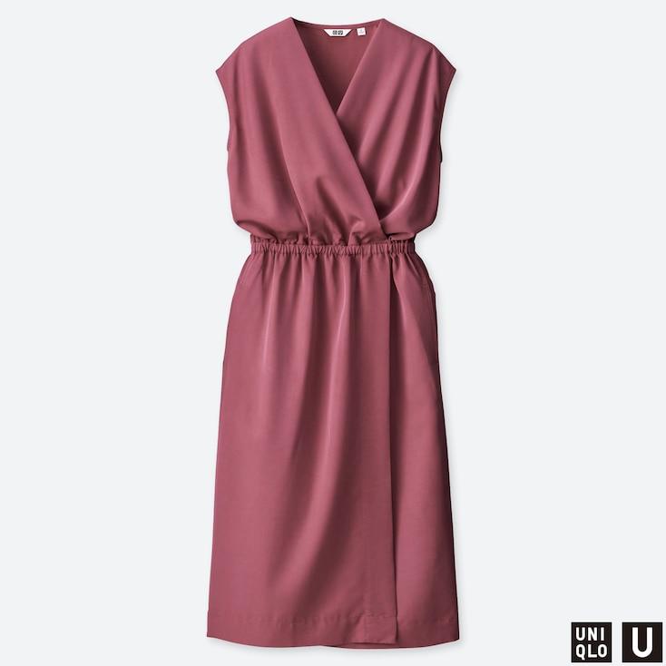 WOMEN U WRAP SLEEVELESS DRESS, PINK, large