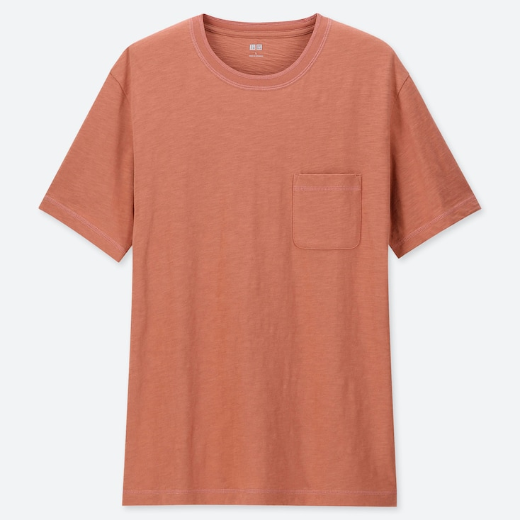 MEN SLUB CREW NECK POCKET T-SHIRT, ORANGE, large