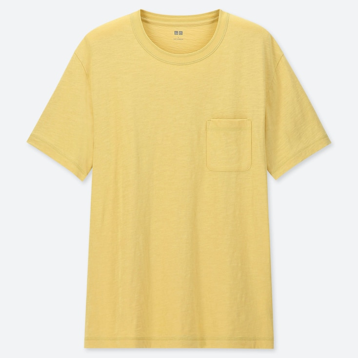 MEN SLUB CREW NECK POCKET T-SHIRT, YELLOW, large