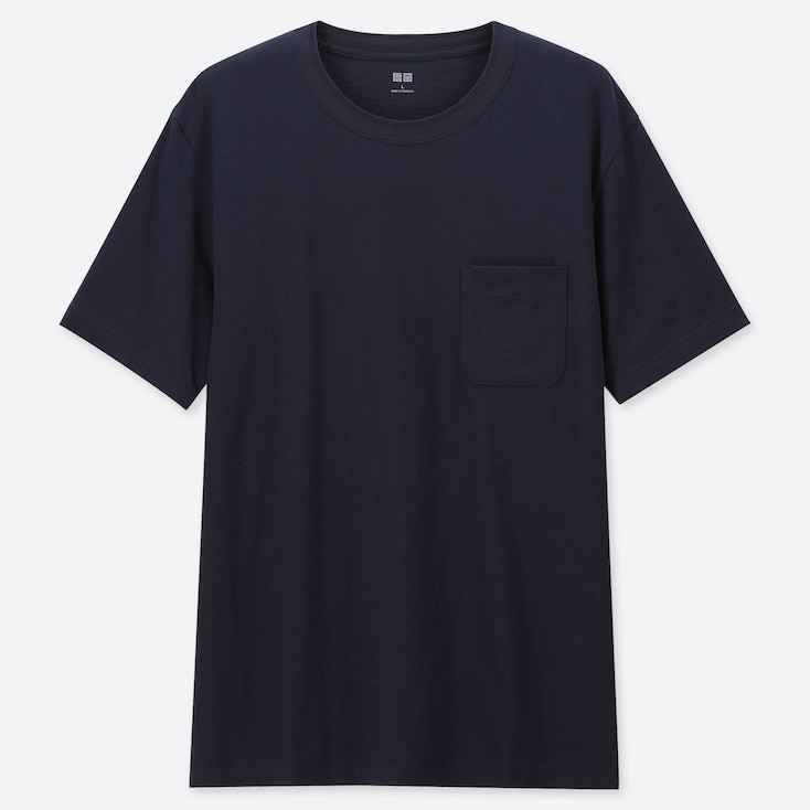 MEN SLUB CREW NECK POCKET T-SHIRT, NAVY, large