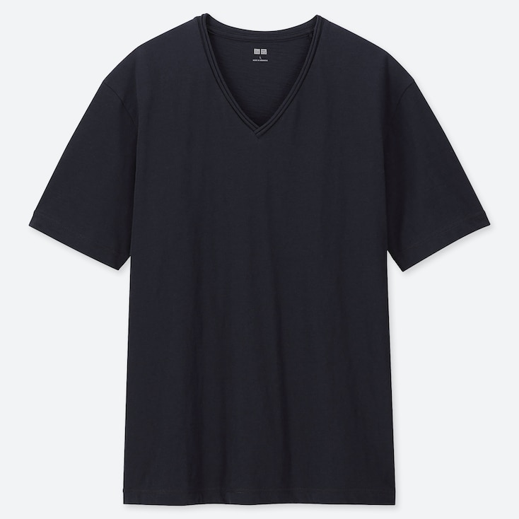 MEN SLUB V-NECK SHORT-SLEEVE T-SHIRT, NAVY, large