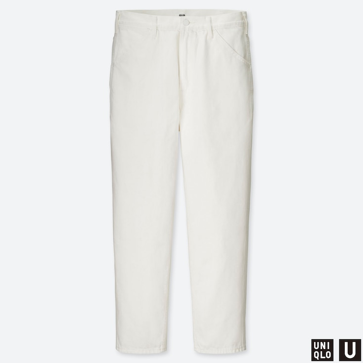 MEN U WIDE-FIT TAPERED JEANS, OFF WHITE, large