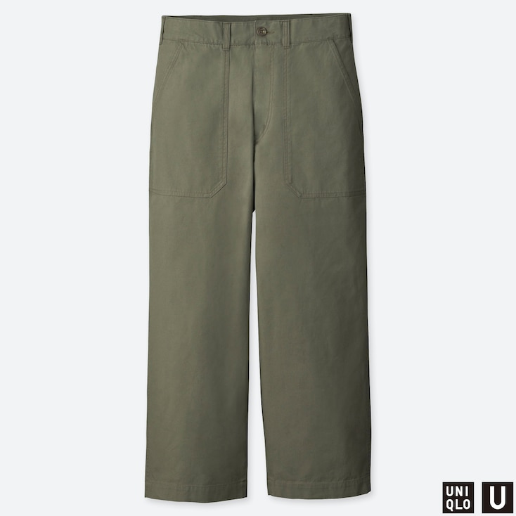 MEN U WIDE STRAIGHT BAKER PANTS, OLIVE, large