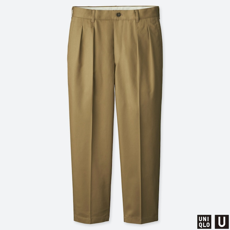 MEN U WIDE-FIT PLEATED TAPERED CHINO, BEIGE, large