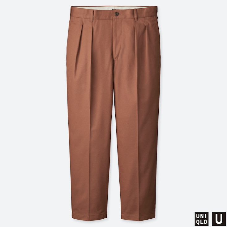 MEN U WIDE-FIT PLEATED TAPERED CHINO, BROWN, large