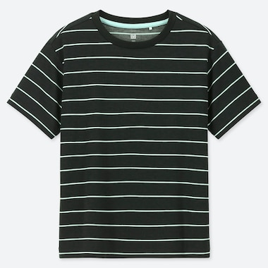 KIDS DRY-EX CREW NECK STRIPED SHORT SLEEVED T-SHIRT
