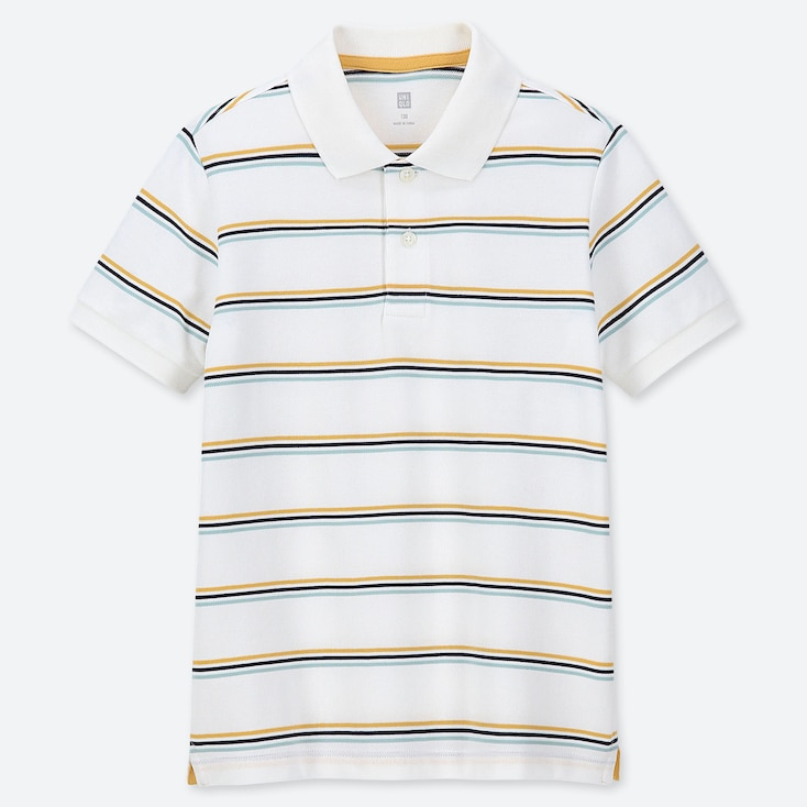 KIDS DRY PIQUE STRIPED SHORT SLEEVED POLO SHIRT