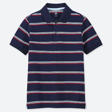 KIDS DRY PIQUE STRIPED SHORT-SLEEVE POLO SHIRT, NAVY, medium