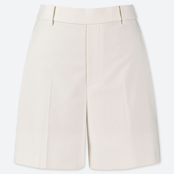 WOMEN SMART CHECKED SHORTS (ONLINE EXCLUSIVE), OFF WHITE, large