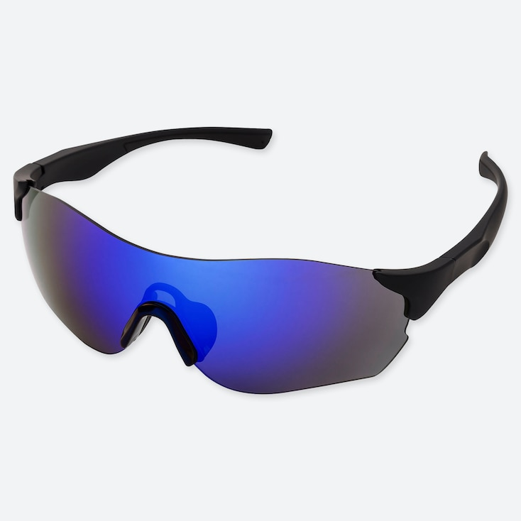 Sports Rimless Sunglasses, Dark Gray, Large