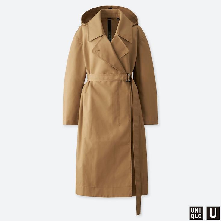 WOMEN U BLOCKTECH TRENCH COAT, BEIGE, large