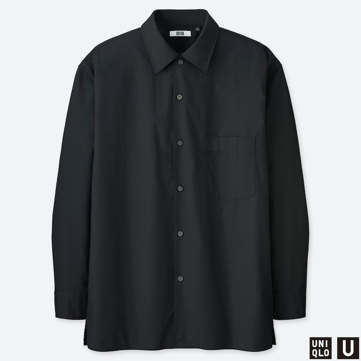 MEN U WIDE-FIT LONG-SLEEVE SHIRT, BLACK, large