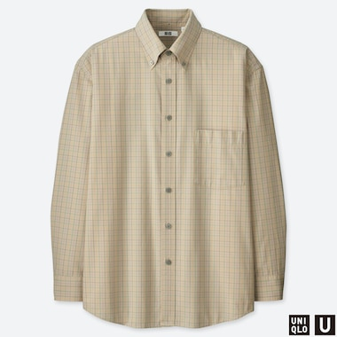 MEN UNIQLO U WIDE FIT CHECKED LONG SLEEVED SHIRT