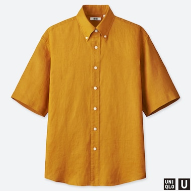 MEN UNIQLO U PREMIUM LINEN WIDE FIT SHORT SLEEVED SHIRT (BUTTON-DOWN COLLAR)