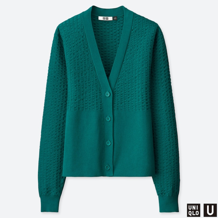 Women U Cotton Balloon Sleeve Cardigan, Green, Large