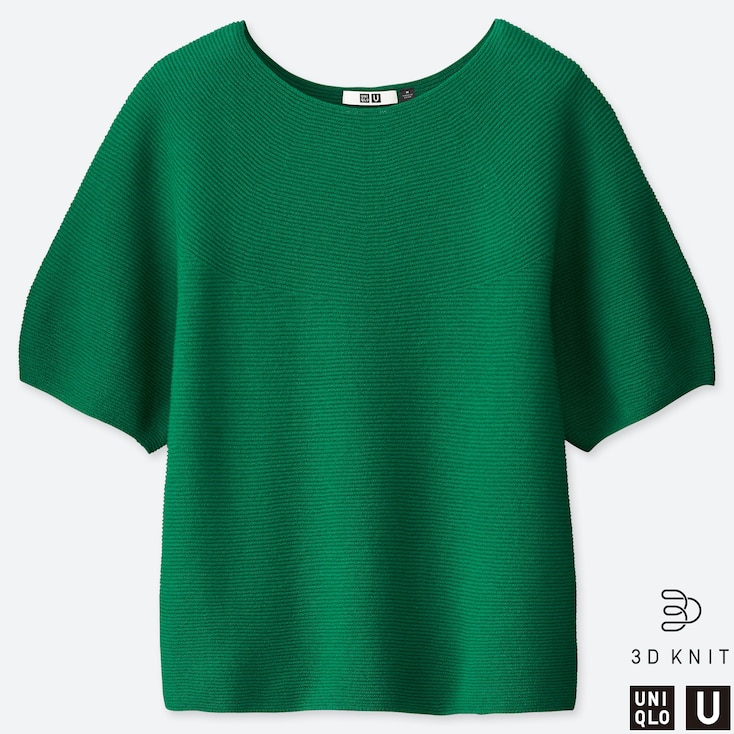 WOMEN U BALLOON HALF-SLEEVE SWEATER, GREEN, large