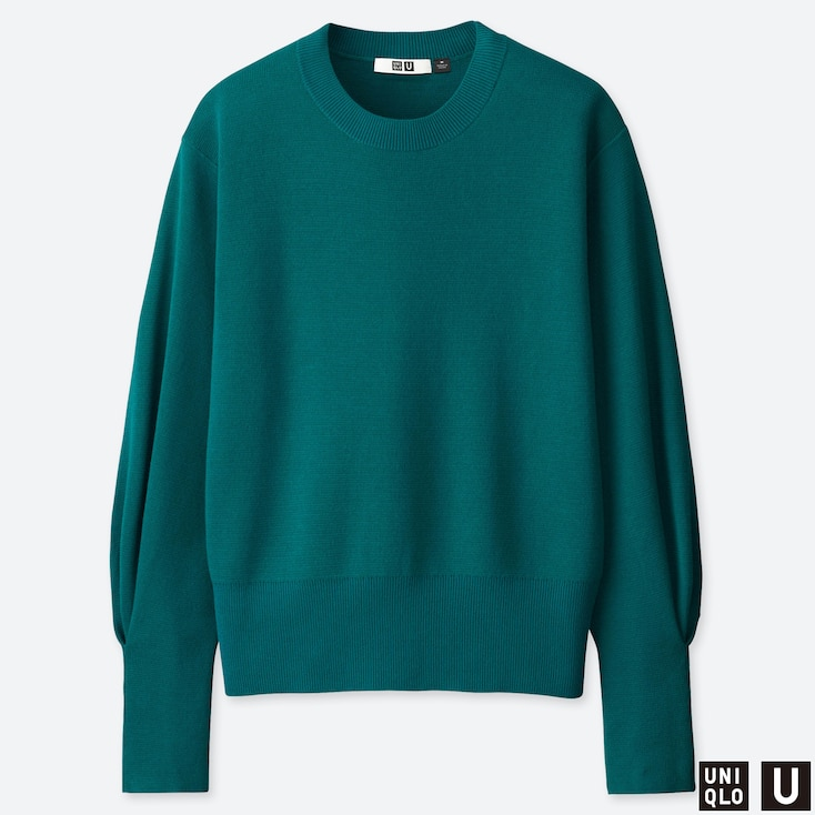 WOMEN U MILANO RIBBED RELAXED CREW NECK SWEATER, GREEN, large